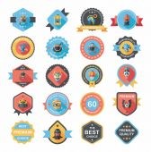 Halloween badge banner design flat background set, eps10 — Stockvektor