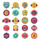 Halloween badge banner design flat background set, eps10 — Vettoriale Stock