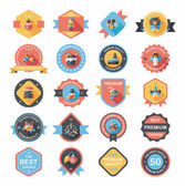 Christmas badge banner design flat background set, eps10 — Vecteur