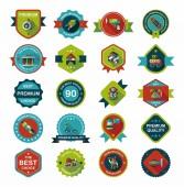 Toy badge banner design flat background set, eps10 — Stockvektor
