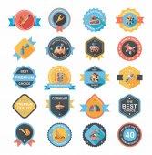 Toy badge banner design flat background set, eps10 — Vecteur