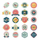 Toy badge banner design flat background set, eps10 — 图库矢量图片