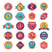 Baby badge banner design flat background set, eps10 — Vecteur