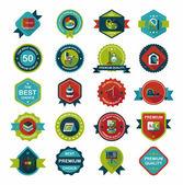 School badge banner design flat background set, eps10 — Stockvektor