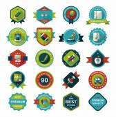 School badge banner design flat background set, eps10 — Vecteur