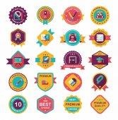 School badge banner design flat background set, eps10 — Cтоковый вектор