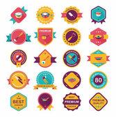 Kitchenware badge flat banner design background set, eps10 — Stockvektor