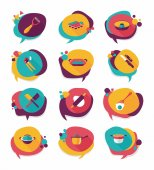 Kitchenware badge flat banner design background set, eps10 — Stockvector