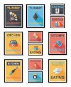 Kitchenware poster flat banner design flat background set, eps10 — Wektor stockowy