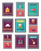 Kitchenware poster flat banner design flat background set, eps10 — Vecteur