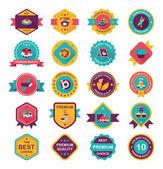 Coffee badge design flat background set, eps10 — Stockvektor