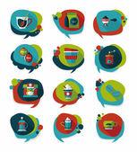 Coffee bubble speech flat banner design flat background set, eps — Stockvektor