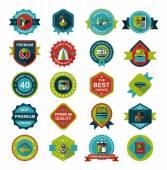Travel badge banner design flat background set, eps10 — Stock Vector
