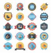 Travel badge banner design flat background set, eps10 — Stok Vektör