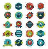 Pet badge flat banner design background set, eps10 — Stockvektor