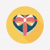 Valentine's Day present flat icon with long shadow,eps10 — Wektor stockowy