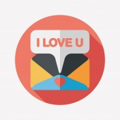 Valentine's day love letter flat icon with long shadow,eps10 — Stock vektor