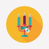 Valentine's Day candle flat icon with long shadow,eps10 — Vettoriale Stock