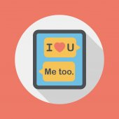 Valentine's Day message phone flat icon with long shadow,eps10 — Stock Vector