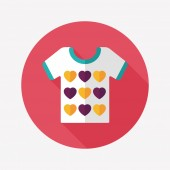 Valentine's Day clothes flat icon with long shadow,eps10 — Stock Vector