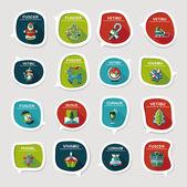 Christmas bubble speech banner design flat background set, eps10 — Stok Vektör