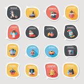 Christmas bubble speech banner design flat background set, eps10 — Vecteur