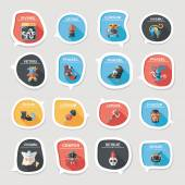Halloween bubble speech banner design flat background set, eps10 — Wektor stockowy