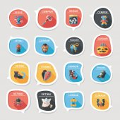 Halloween bubble speech banner design flat background set, eps10 — Stockvector