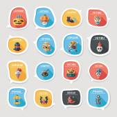 Halloween bubble speech banner design flat background set, eps10 — Vector de stock