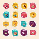 Kitchenware bubble speech flat banner design background set, eps — Vector de stock
