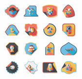 Toy sticker flat banner background set, eps10 — Wektor stockowy