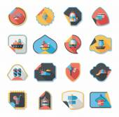 Travel sticker flat banner background set, eps10 — Wektor stockowy
