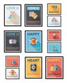 Valentines Day speech bubble banner flat design se eps 10 — Stok Vektör