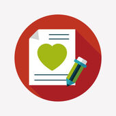 Valentine's day love letter flat icon with long shadow,eps10 — 图库矢量图片