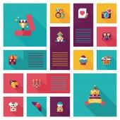 Valentinesets Day ui flat design background set, eps10 — Vettoriale Stock