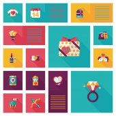 Valentinesets Day ui flat design background set, eps10 — Stok Vektör