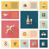 Valentinesets Day ui flat design background set, eps10 — Cтоковый вектор