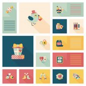 Valentinesets Day ui flat design background set, eps10 — Vettoriale Stock
