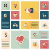 Valentines Day ui flat design background set, eps10 — Διανυσματικό Αρχείο