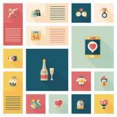 Sevgililer günü Ui düz tasarım arka plan ayarlamak, eps10 — Stok Vektör