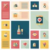 Valentines Day ui flat design background set, eps10 — Vettoriale Stock