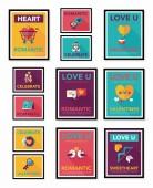 Valentines Day tag banner flat design background set, eps10 — Stockvector
