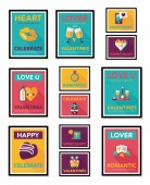 Valentines Day tag banner flat design background set, eps10 — Vettoriale Stock