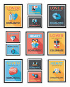Valentines Day tag banner flat design background set, eps10 — ストックベクタ