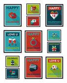 Valentines Day tag banner flat design background set, eps10 — 图库矢量图片
