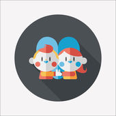 Valentine's day couple flat icon with long shadow,eps10 — ストックベクタ