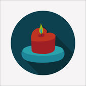 Valentine's Day candle flat icon with long shadow,eps10 — Vector de stock