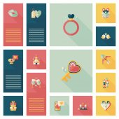 Valentines Day tag banner flat design background set, eps10 — Wektor stockowy