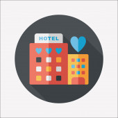 Valentine's day hotel flat icon with long shadow,eps10 — Stock Vector