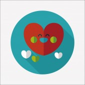 Valentine's Day love heart flat icon with long shadow,eps10 — Stock Vector
